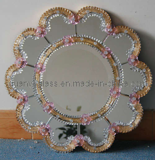 China Flower Pink And Clear Murano Antique Finish Wall Mirror Gjj06 China Murano Mirror Pink And Clear Murano Mirror