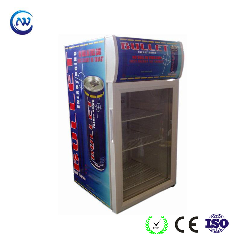 China Countertop Locking Mini Display Cooler Glass Door Refrigerator