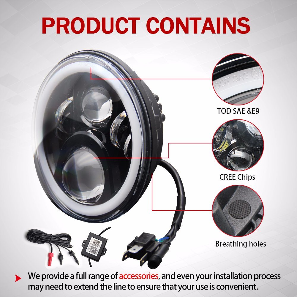 China Waterproof Ip67 4inch Fog Light High Low Beam Halo Ring Rgb Jeep Wrangler Oem Lights Auto 7 Inch Round Led Headlight For