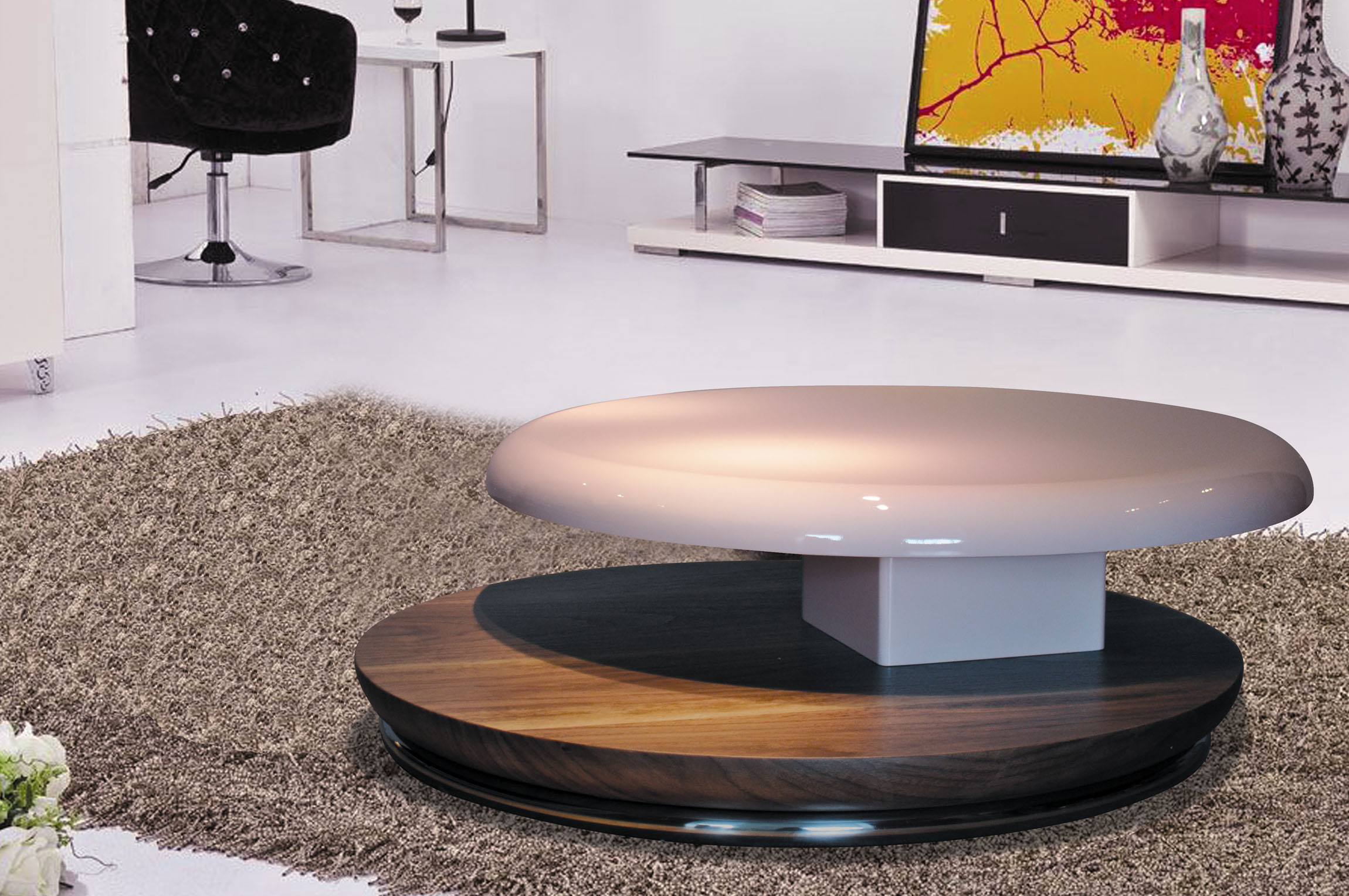 Hot Item Antique Round Coffee Table In High Gloss And Veneer Living Room Table Cj M042f