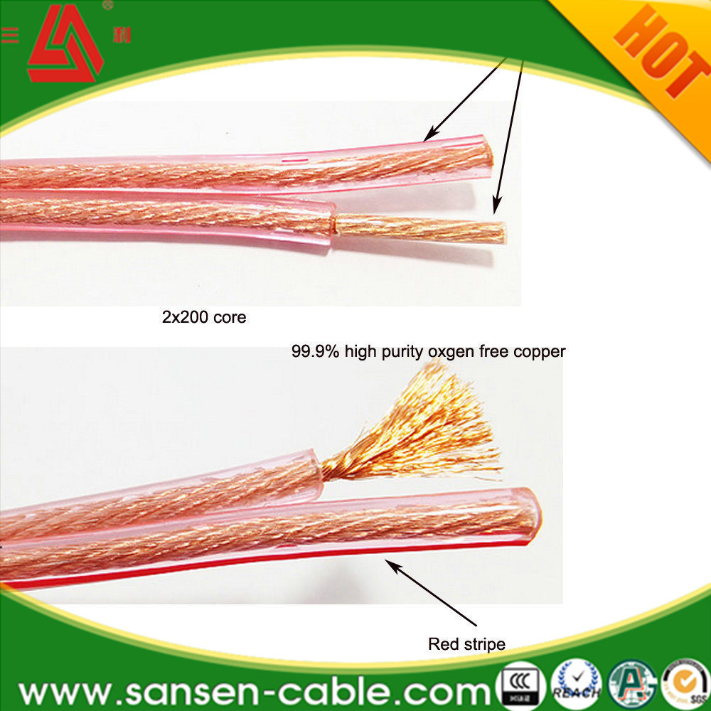 China Car Home Audio Transparent Clear Cable 12AWG 25FT 12/2 Gauge ...