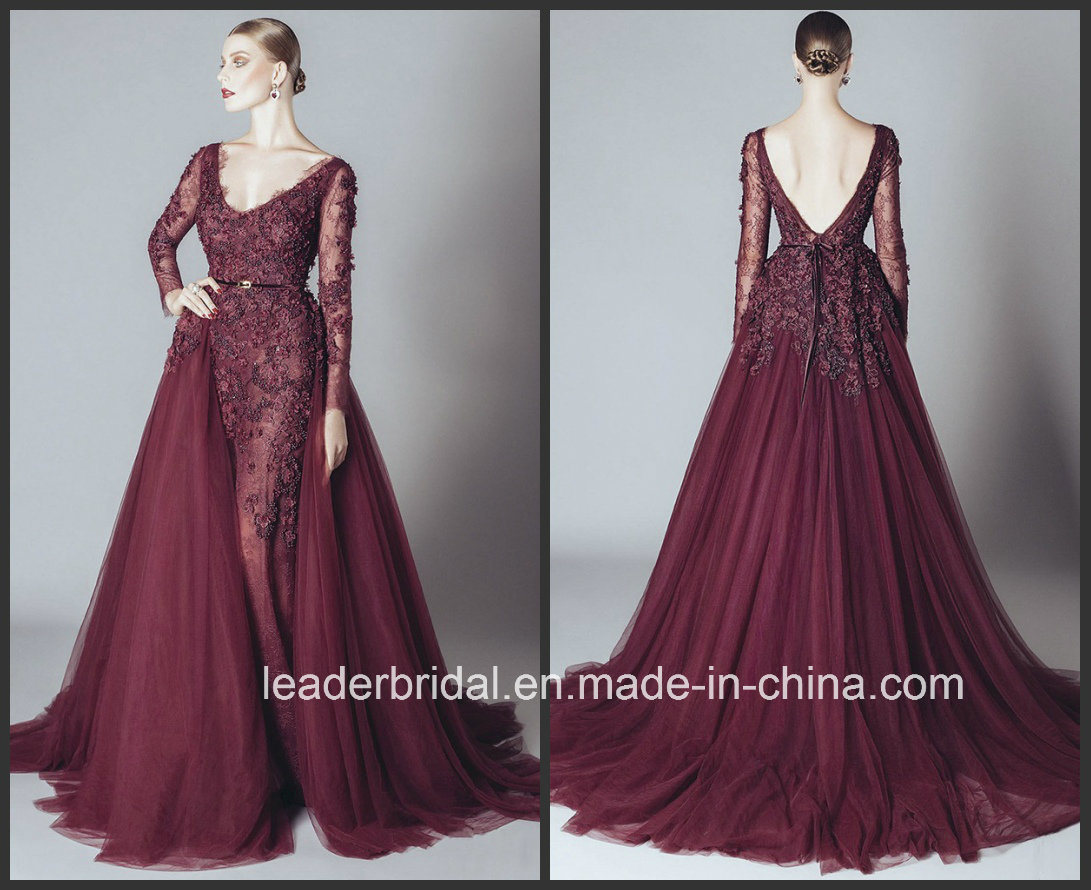 China Long Sleeve Evening Gowns Burgundy Lace Tulle Prom Dresses ...
