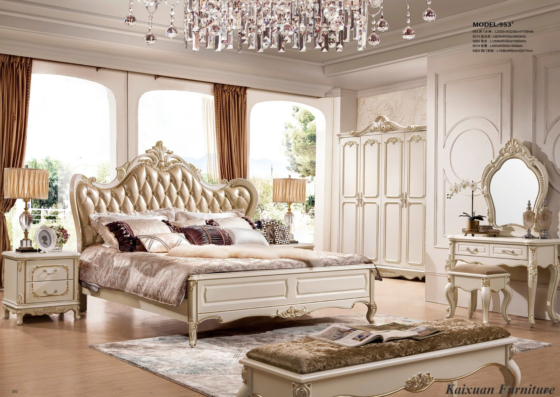 [Hot Item] Antique Hotel Home Bedroom Furniture with Wardrobe