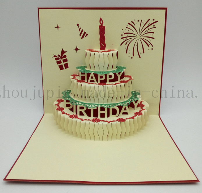 China Custom 3d Paper Birthday Cake Greeting Invitation Card China