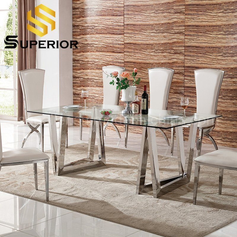 China Modern Stainless Steel Frame, Glass Dining Room Table And Chairs