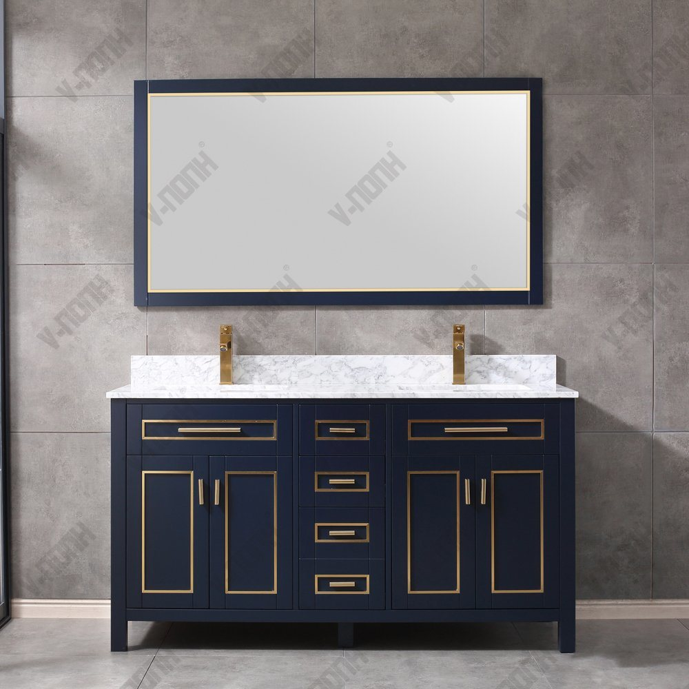 China Complete Bathroom Vanity Sets Metal Inlay Bathroom Cabinets China Dark Wood Sink Unit Solid Wood Bathroom Vanity Base