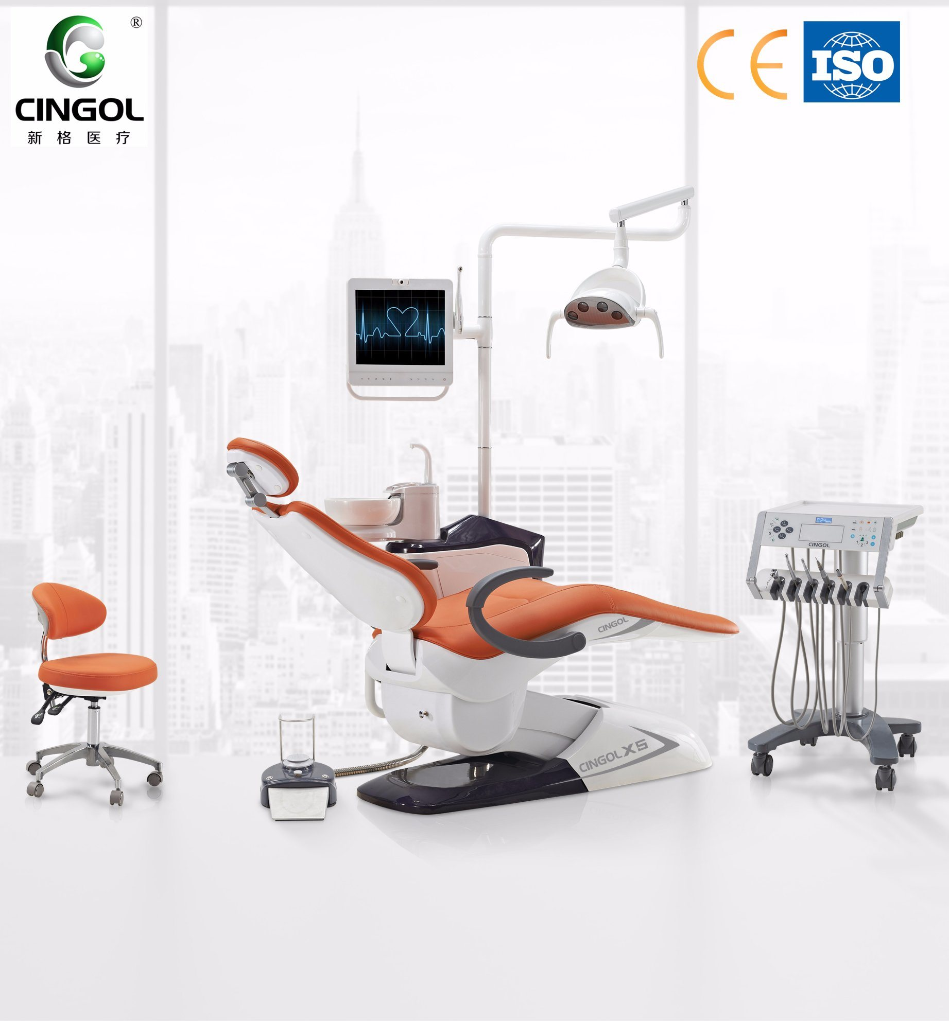 China 2018 New Dental Chair with Mobile Cart China Dental Chair