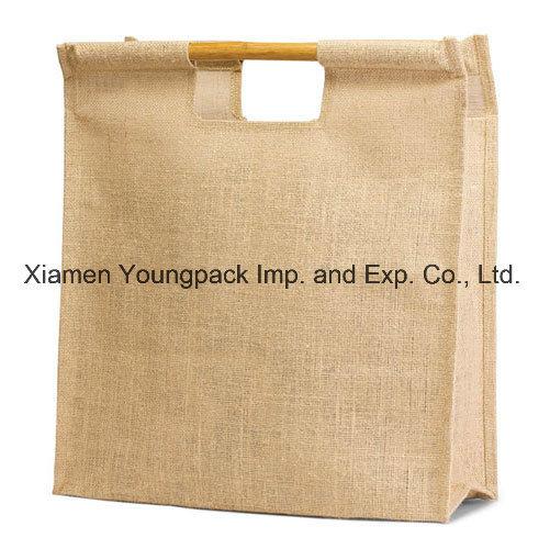 Whole Bulk Eco Friendly Burlap Bag Natural Jute Tote Bags With Cane Handle