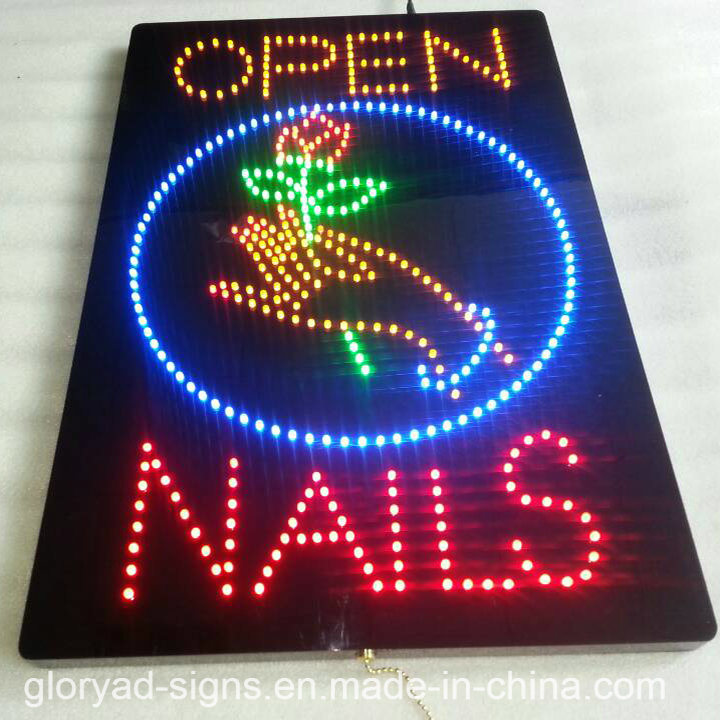 China LED Open Sign Electric Massage Sign LED Moving Nail Sign ...