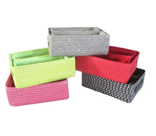 Plastic Straw Storage Basket Box S/3