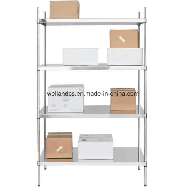 [Hot Item] Professional Commercial Kitchen Storage Equipment Stainless  Steel Solid Shelf Rack