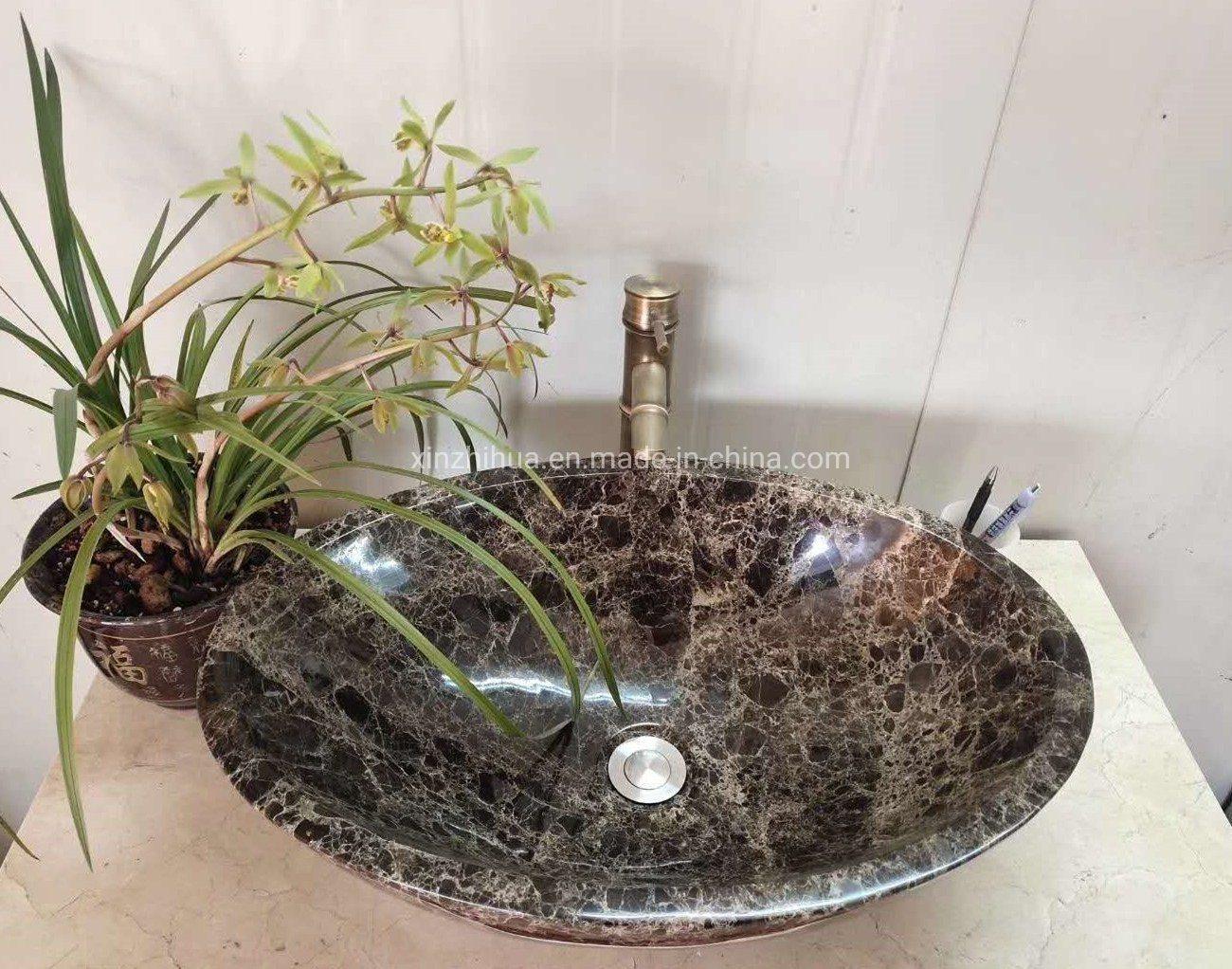 China Brown Emperador Marble Oval Round Square Bathroom Kitchen Washroom Restroom Toilet Vessel Sink Bowl Basin China Marble Marble Basin
