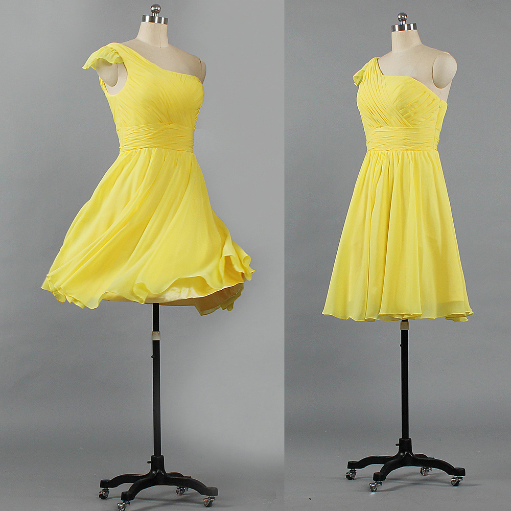 modern techniques website for discount best quality for [Hot Item] E441 Girls Chiffon One Shoulder Short Bridesmaid Dresses Yellow  Cocktail Dress