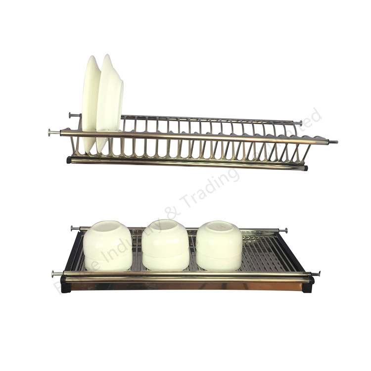 China Stainless Steel 201 Movable Pull Out Kitchen Cabinet Dish Rack Holder China Cabinet Movable Dish Rack And Kitchen Cabinet Organizer Price
