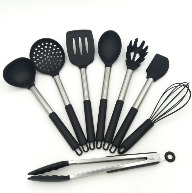 [Hot Item] FDA Amazon Silicone Stainless Steel Handle Kitchen Utensil Sets