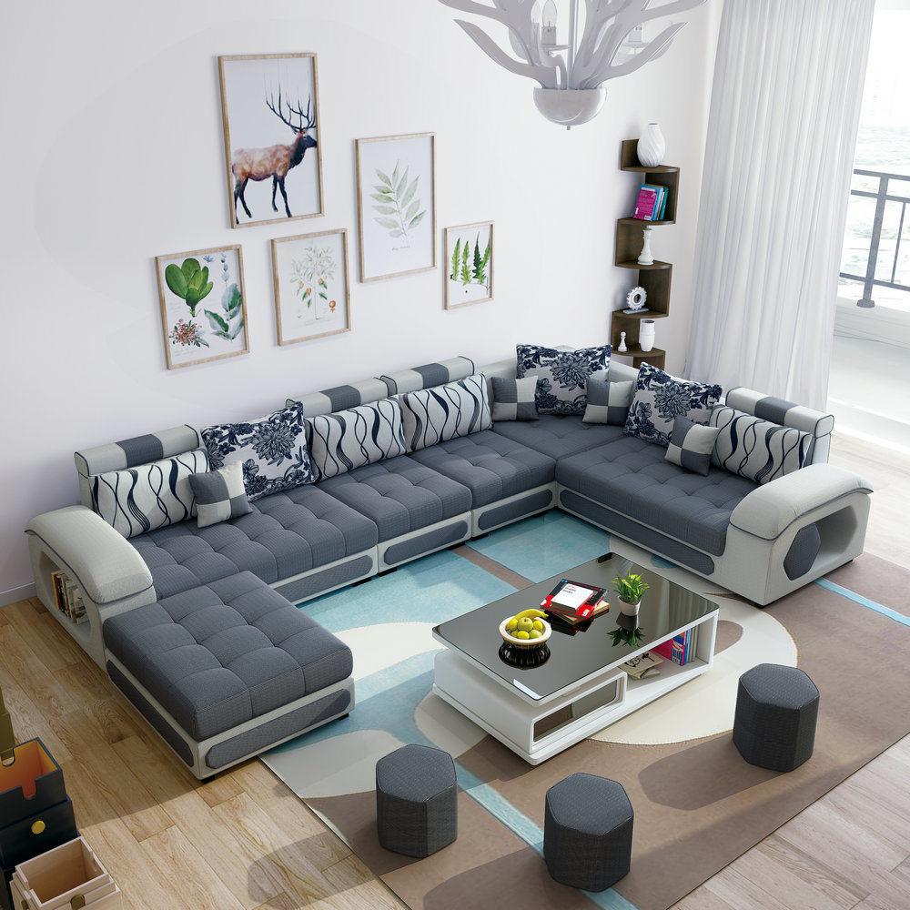 China Grey Color U Shape Combination Sectional Living Room
