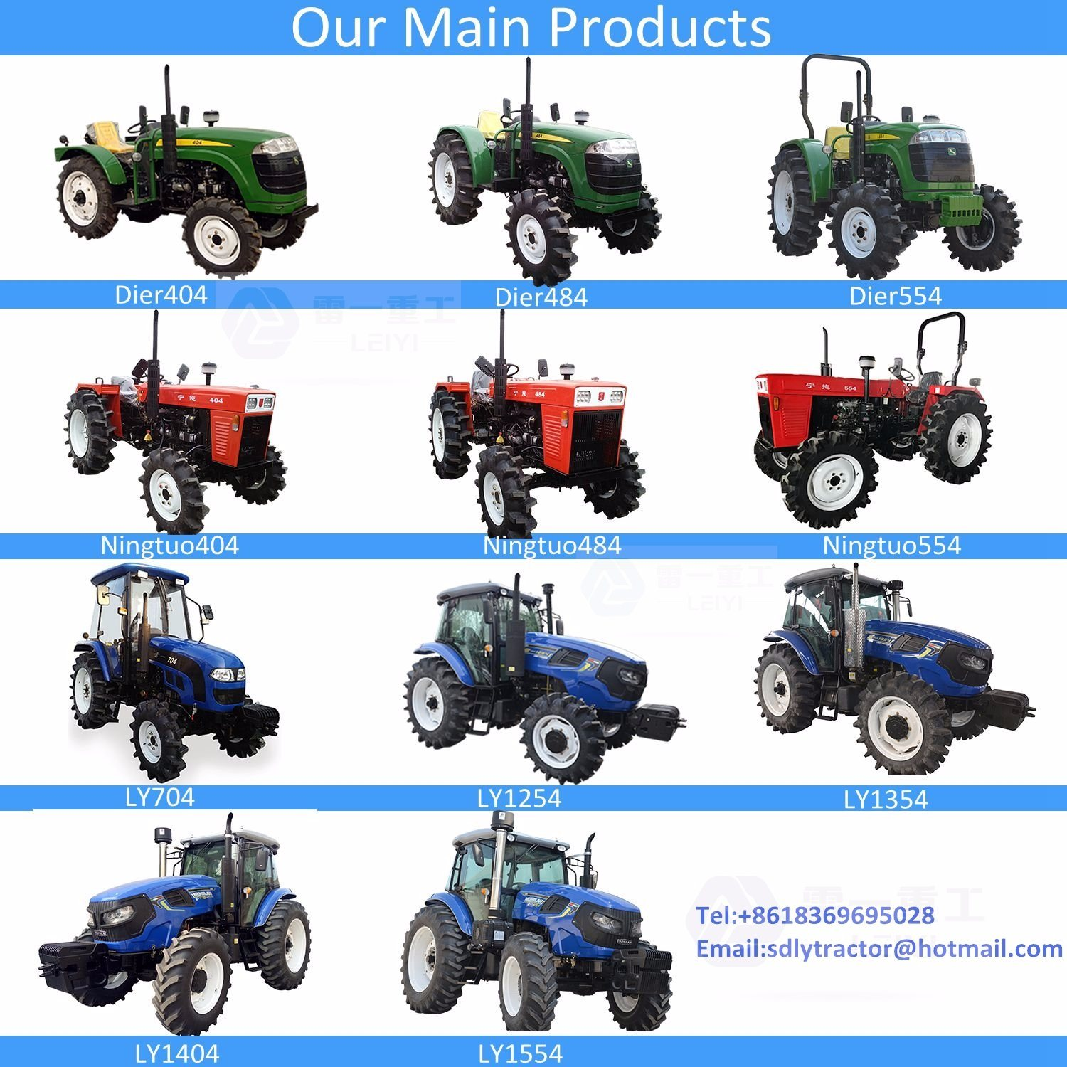 Chinese Agricultural Wheeled Small/Farm/Garden/Compact/Narrow/Mini/Walking Tractor for Different Fields Use (704/1254/1354/1404/1554)