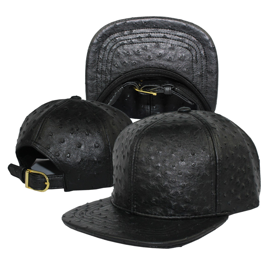 Ostrich Faux Leather Strapback Baseball Cap