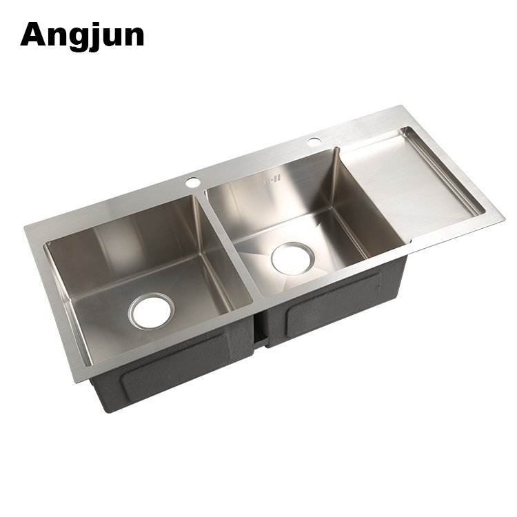 China 10045 Large Double Bowl Stainless Steel Kitchen Sink With