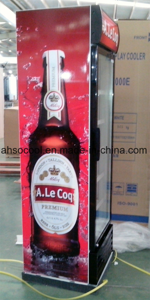 China Upright Single Glass Door Beverage Cooler For Supermarket