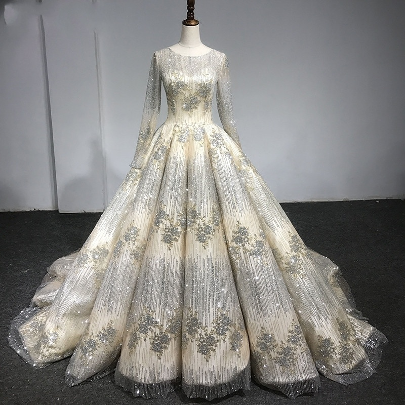 Glitter Wedding Gowns: China Long Sleeves Bridal Gowns Glitter Lace Puffy Gold