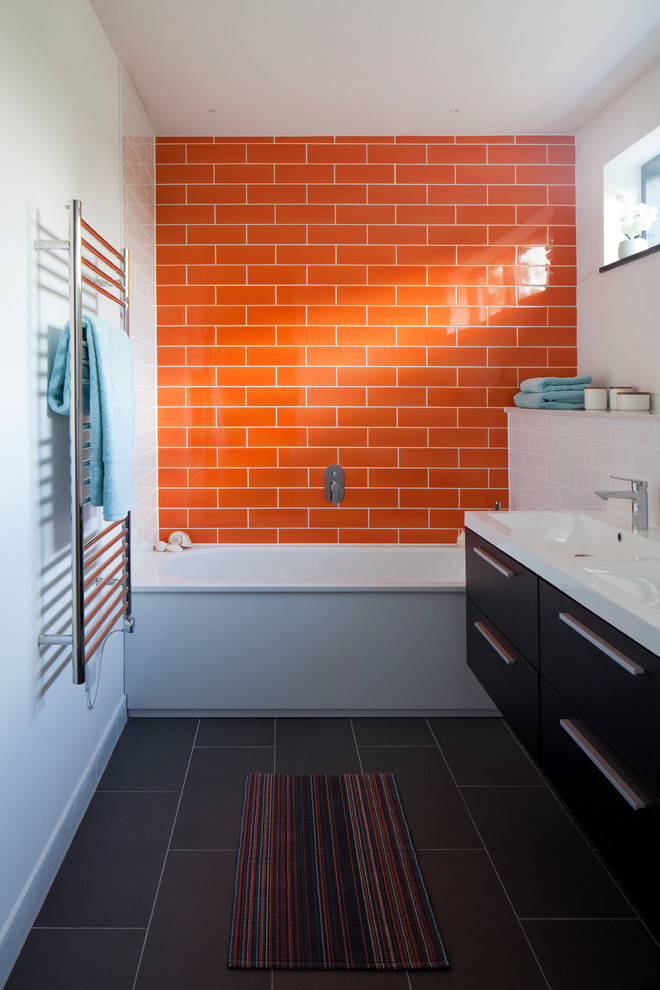 China Orange 4x12inch10x30cm Glass Subway Tile Bathroom Tile