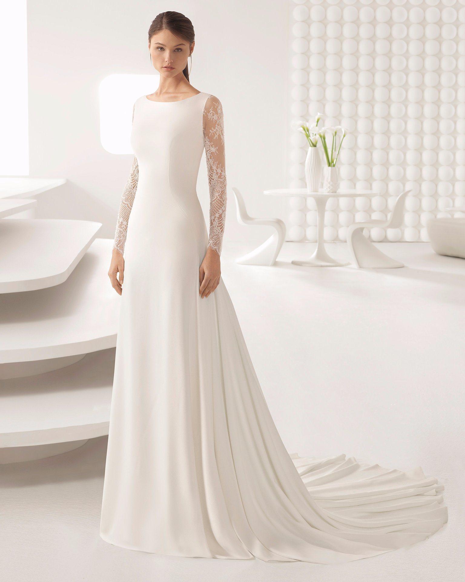 Boat Neck Lace Long Sleeve Chiffon Bridal Wedding Dress
