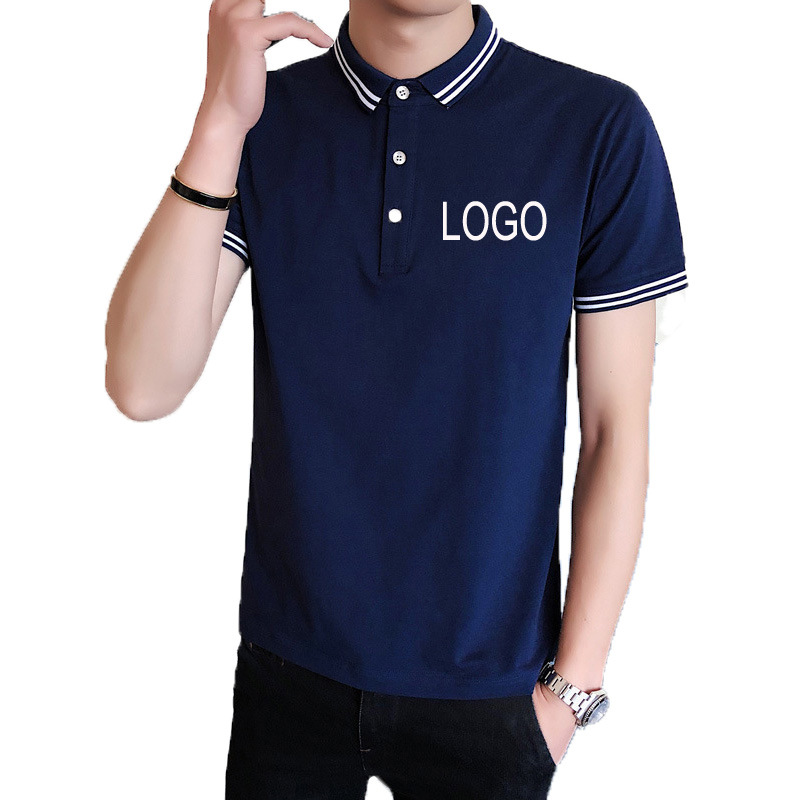 a08b2db5c [Hot Item] 2019 Summer New Design Printing Plain 100% Cotton Mens Navy Blue  Polo Shirt with Color Collar