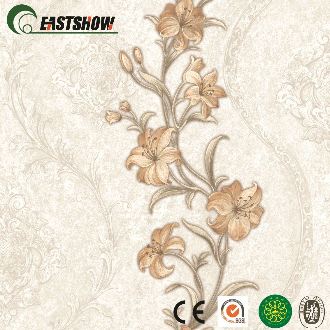 China New Cheap Floral Vinyl Pvc Wallpaper For Living Room China