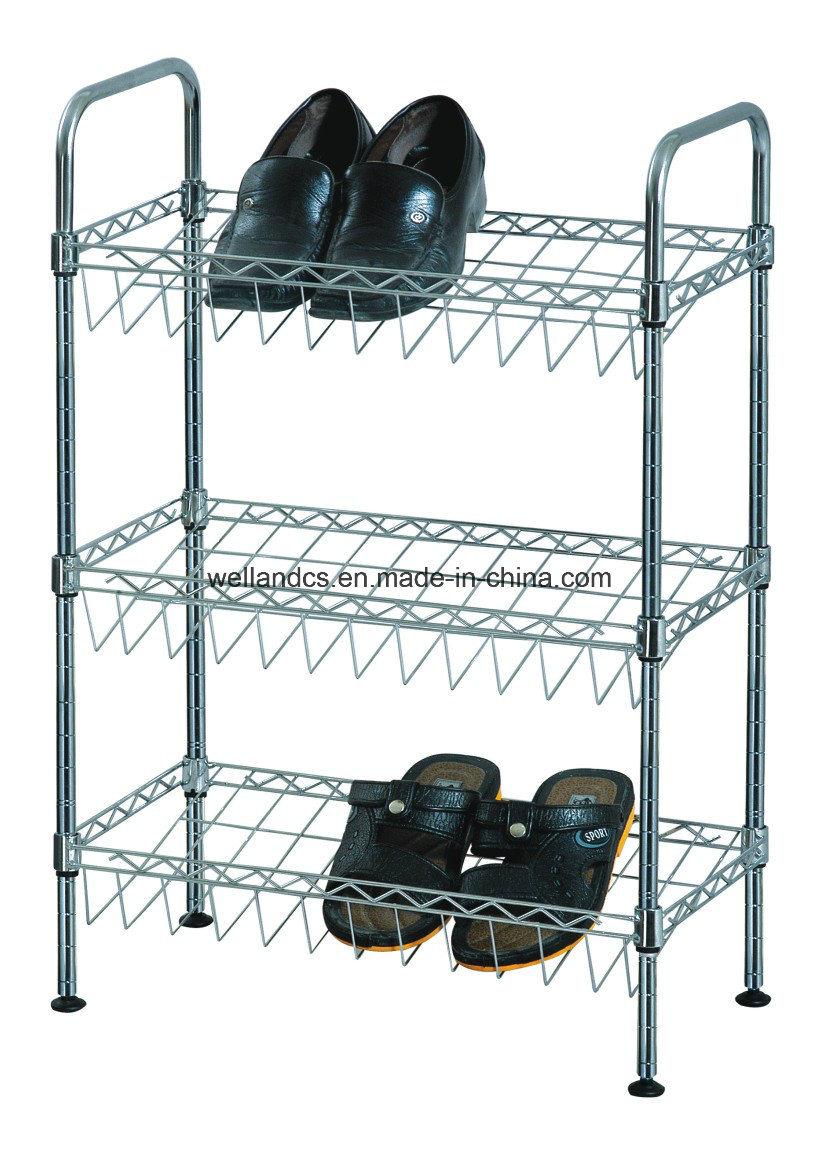 China Wholesale Price 3 Shelves Slanted Chrome Metal Wire Shoe Rack ...
