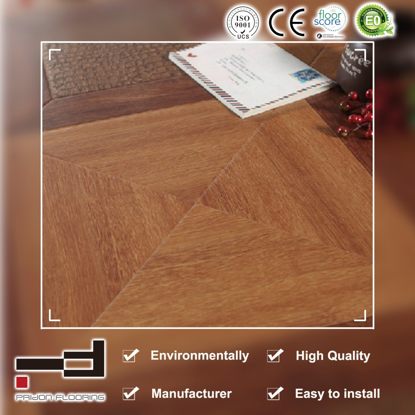 China Circular Buckle Classical Hdf Brown Laminated Flooring