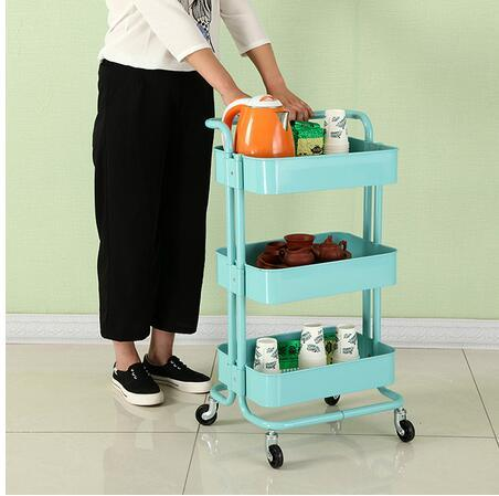 bd461d30e1c0 [Hot Item] Easy Moving 4 Wheels Trolley Cart Kitchen Trolley with Basket