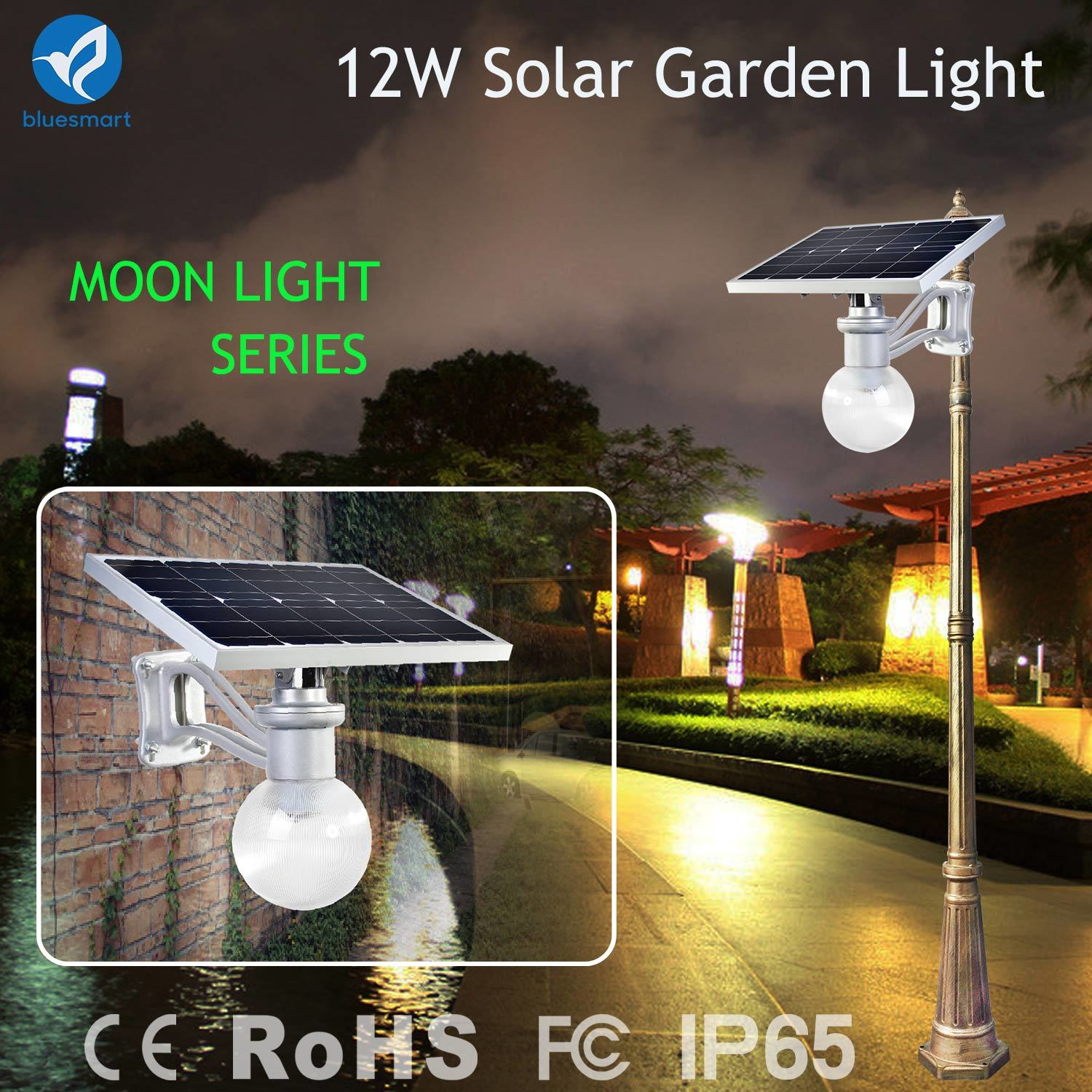 China Bluesmart 12w Solar Powered Garden Wall Lighting With Motion Lamp Light Sensor Led