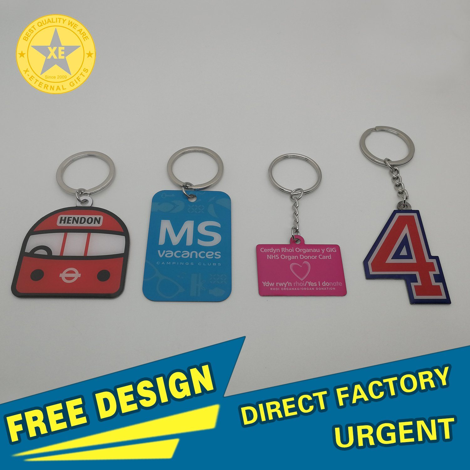 X-Eternal Gifts Stainless Steel Offset Printing Logo Club Souvenir Pantone Color Keyring Badge Medal Custom Bottle Opener Trolly Keychain pictures & photos