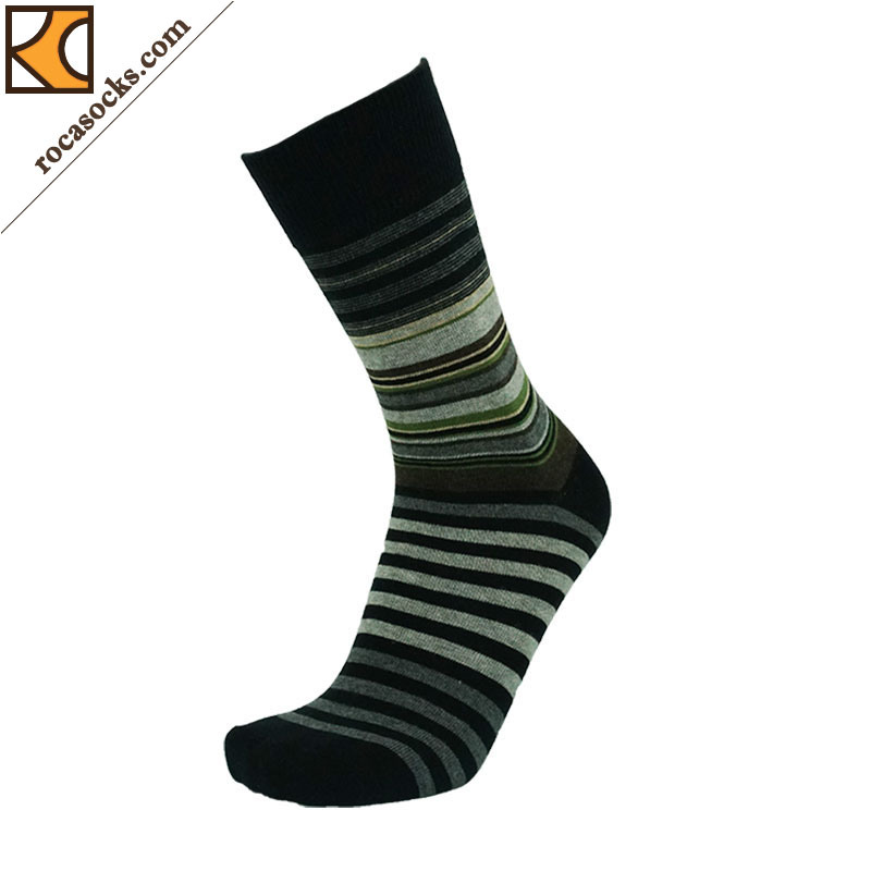 Men′s Colorful Striped Cotton Dress Socks (1630017SK)
