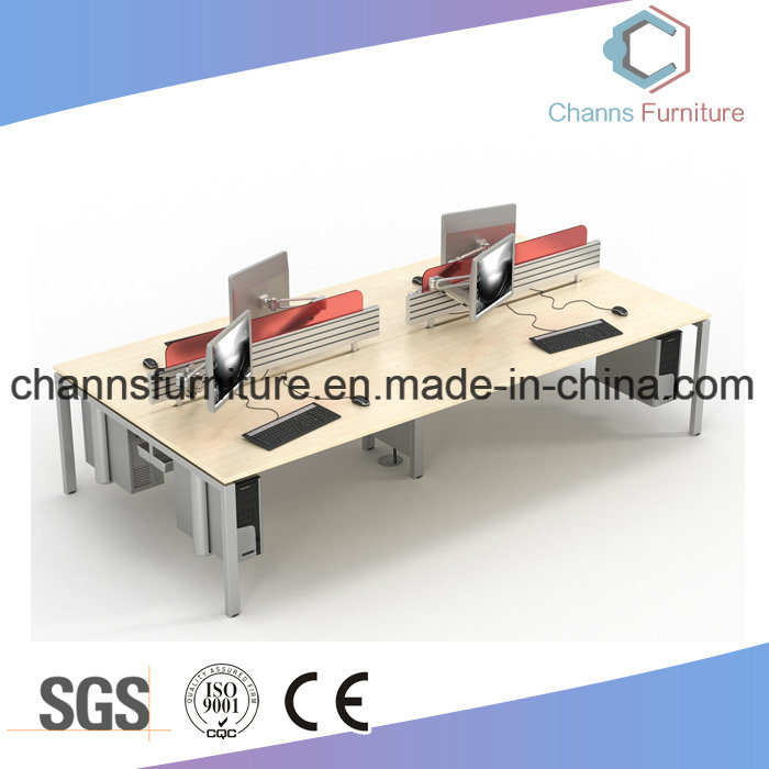 Customized Color Optional Cross Office Melamine Desk Workstation With White Metal Frame