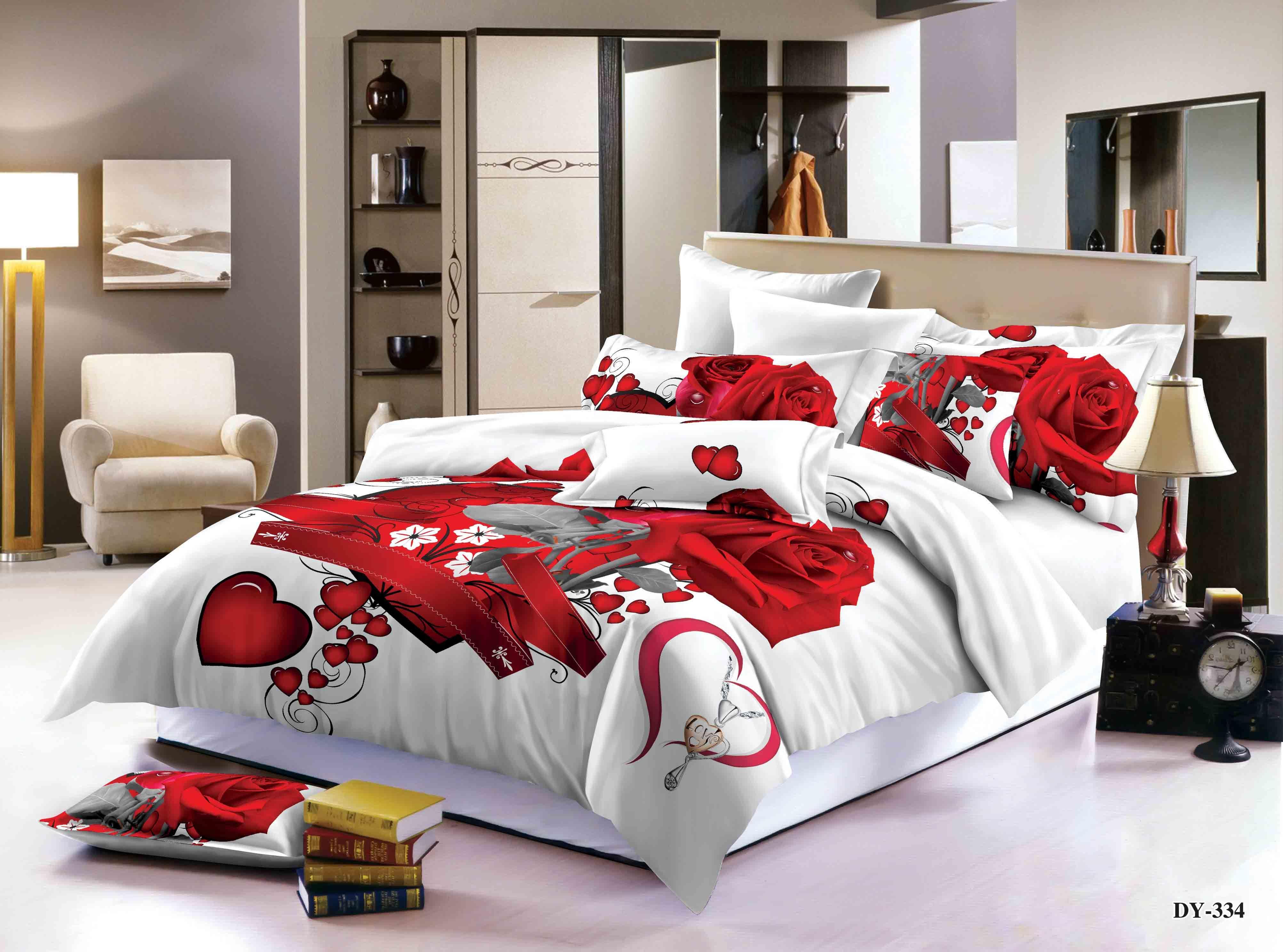 3D Design 4Pcs Duvet Quilt Cover Sets Fitted Sheet Pillowcases Complete Bedding