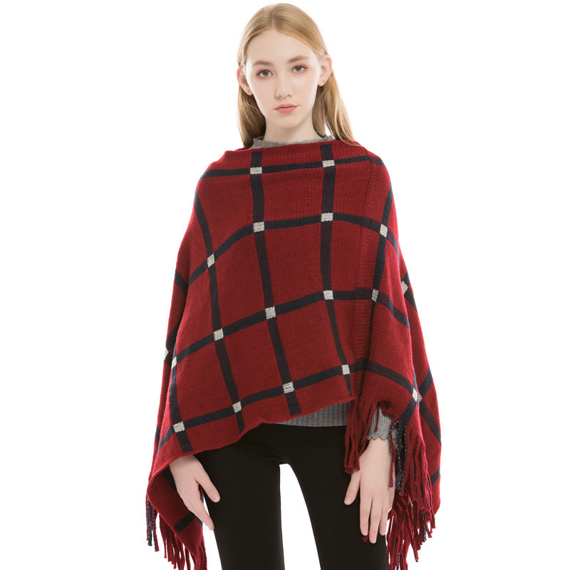 Hooded Shawl Wrap Knit Women Fringe Knitted Poncho Cardigan Cape Sweater Cacao