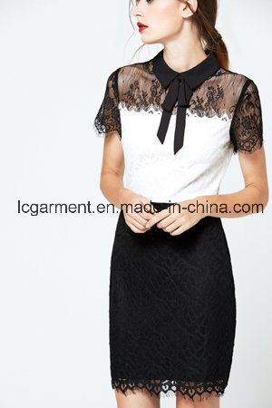 Fashion Short Sleeve Black Lace Office Latest Lady Dress Designs