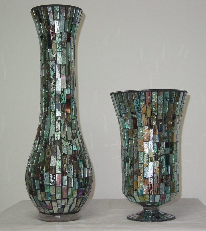 China Blue Colored Mirrored Glass Mosaic Vase China Mosaic Glass