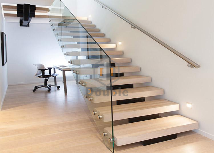 China Modern Stairs Design Glass Railing Wood Steps Staircase