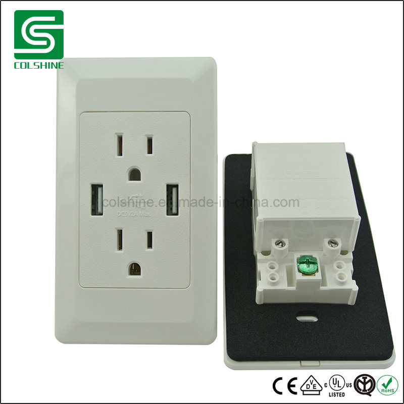 China American Standard Duplex Electrical USB Wall Socket Outlet ...