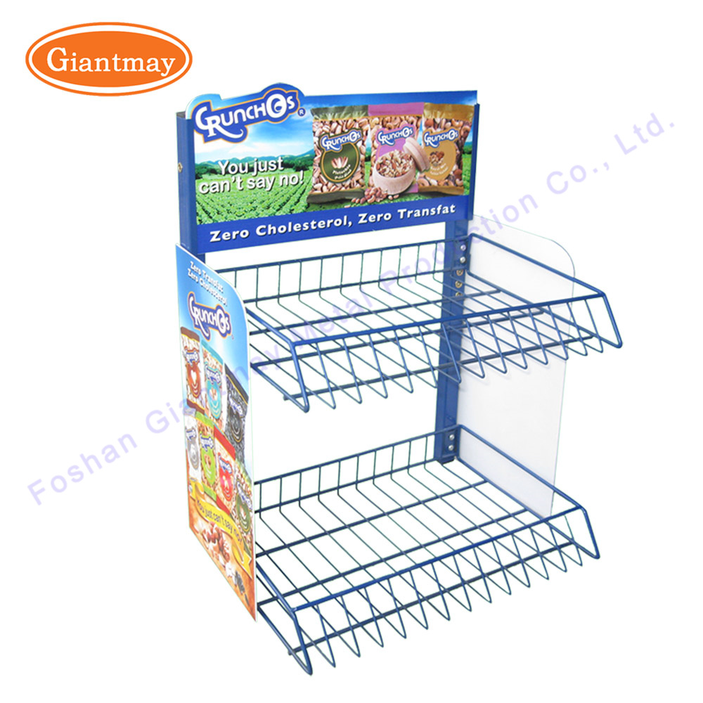 China Retail Store Metal Wire Shelving Counter Potato Chip Display ...