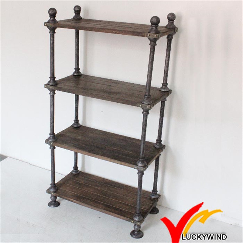 4 Tier Wood Board Metal Frame Antique