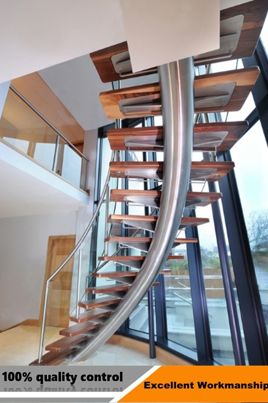 Modern Helical Staircase With Stair Tread / Curved Glass Stairs With Glass  Railing
