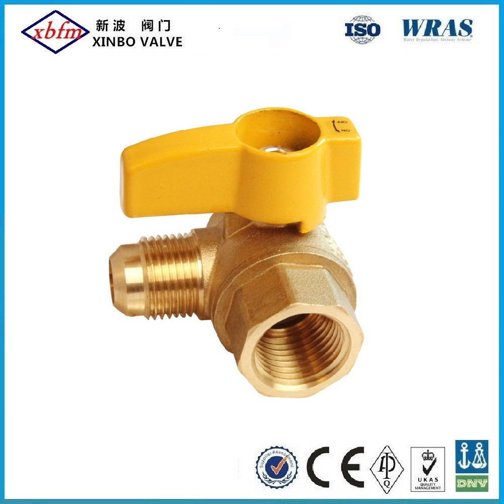 Angle Brass Gas Ball Valve-Flare X Female pictures & photos