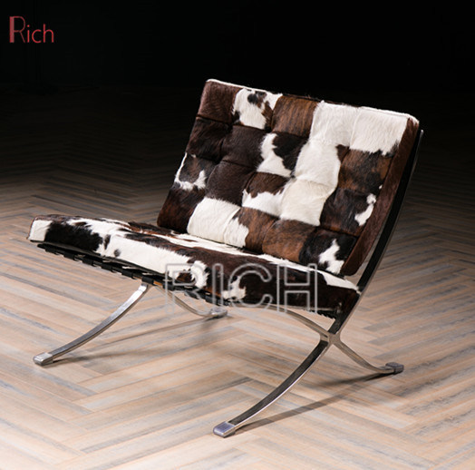 Pleasing Hot Item Lounge Design Chair Cowhide Barcelona Chair With Stainless Steel Frame Squirreltailoven Fun Painted Chair Ideas Images Squirreltailovenorg