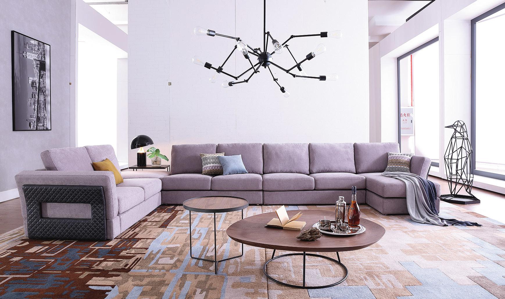 [Hot Item] Home Furniture Big Sectional Sofa Fabric Sofa Set with Ottoman