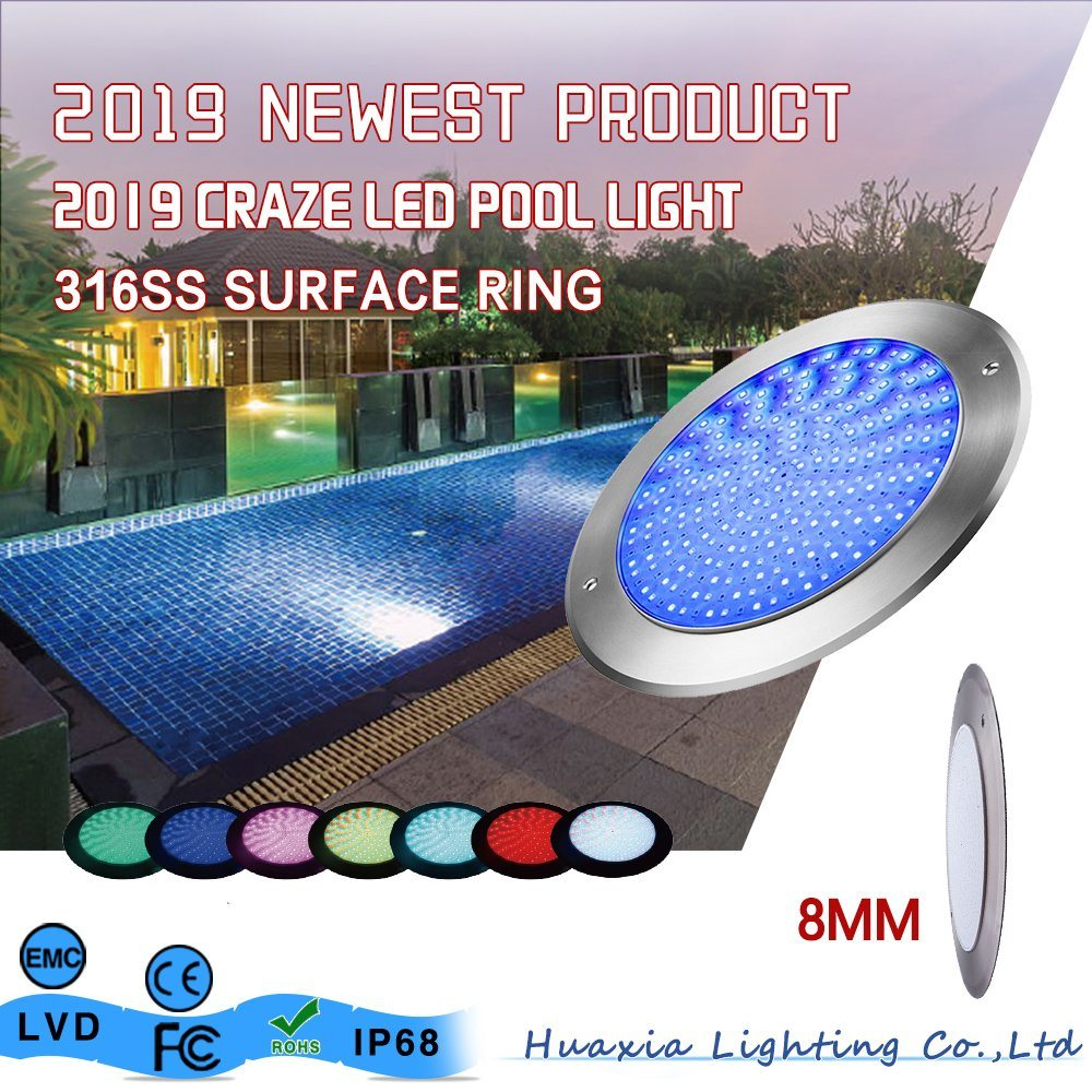 [Hot Item] Huaxia Ultra Thin 8mm Thickness 18W 24W 35W Underwater Lamp LED  Swimming Pool Light with ERP Report