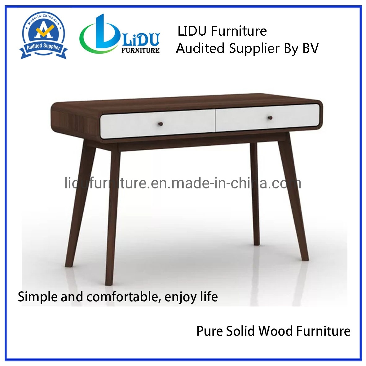 [Hot Item] Cheap Solid Wooden Kids Desk Writing Desk Study Desk Dressing  Table Three Oak-Effect Drawers